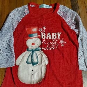 Southern Grace Snowman and Lace Quarter Sleeve Top